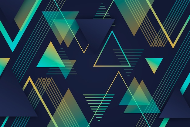 Gradient geometric poly shapes on dark background