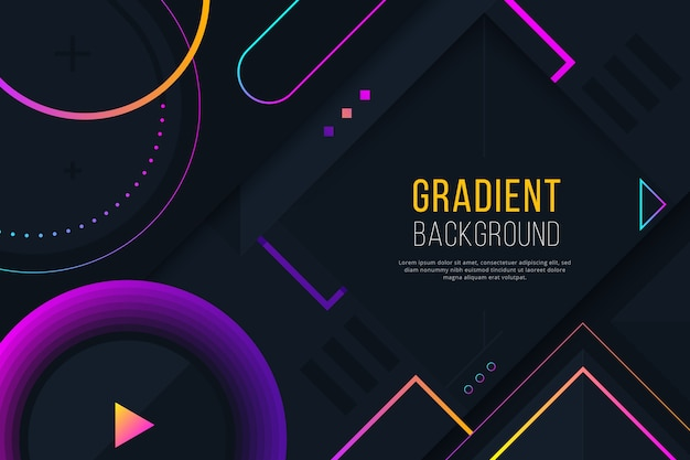 Gradient geometric purple shapes on dark wallpaper