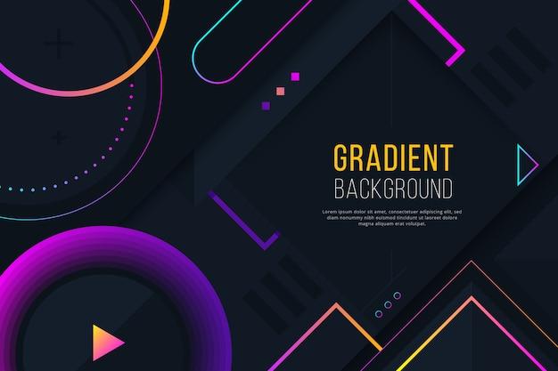 暗い壁紙にグラデーションの幾何学的な紫色の図形