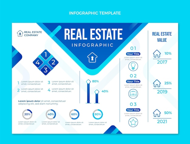 Gradient geometric real estate infographic