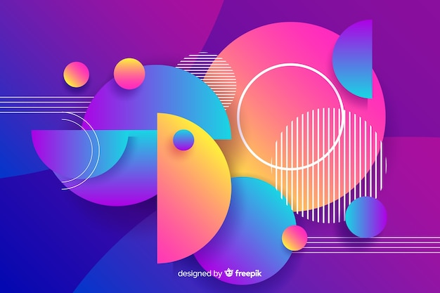 Gradient geometric round shapes background