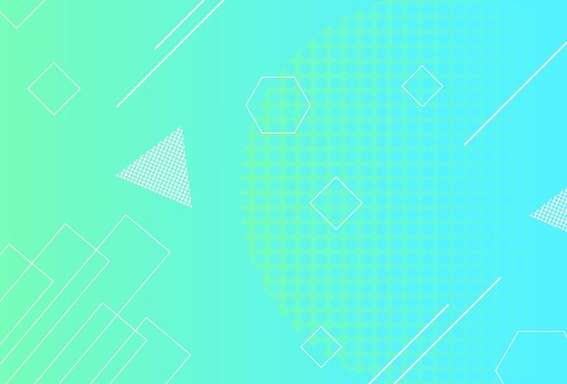 グラデーションの幾何学的形状の背景青空緑
