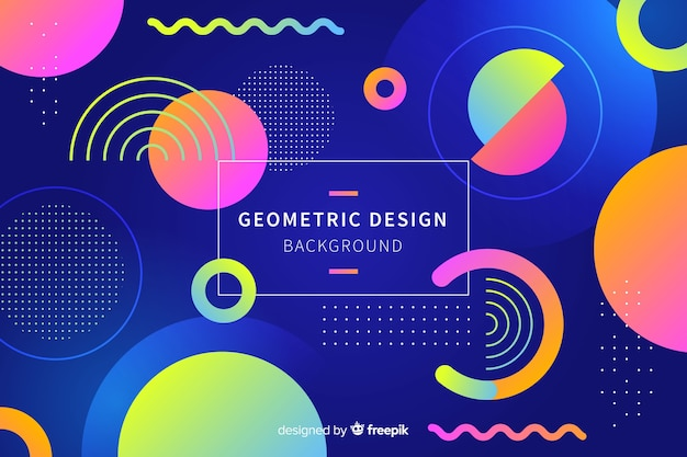 Gradient geometric shapes background in memphis style