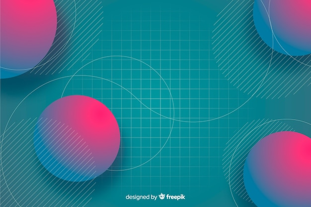 Gradient geometric shapes background with circles