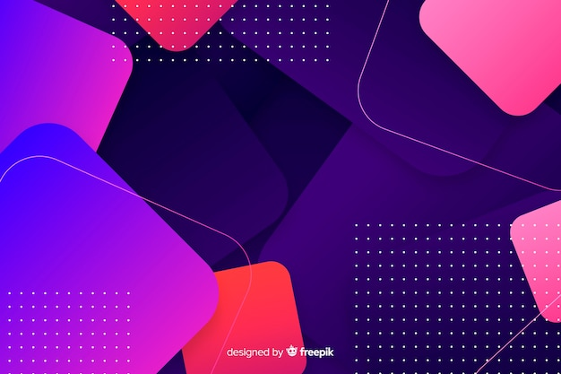Gradient geometric shapes background with dots