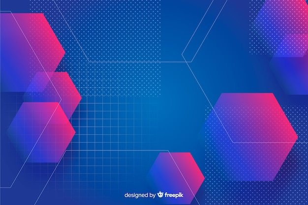Gradient geometric shapes background with hexagons
