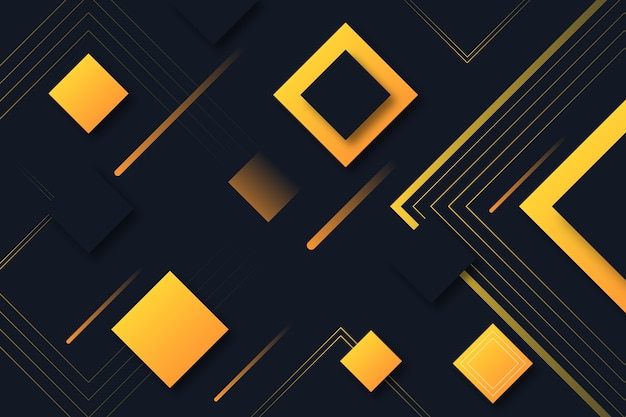 Gradient geometric shapes on dark background concept