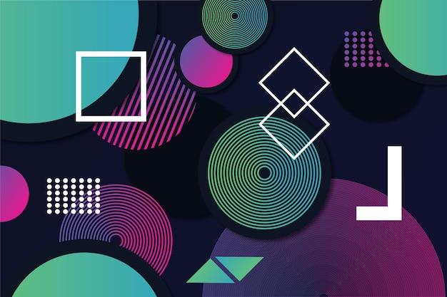 Gradient geometric shapes on dark background style