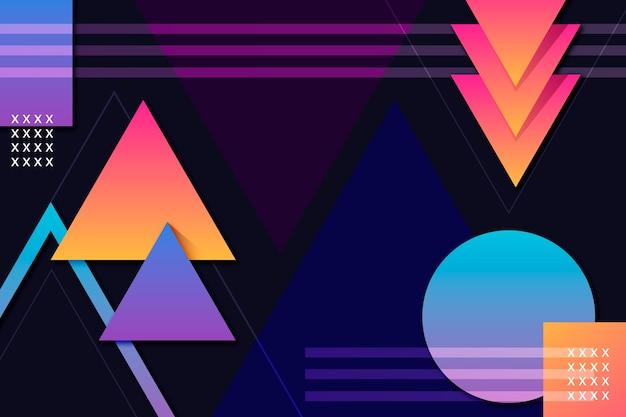 Gradient geometric shapes on dark background