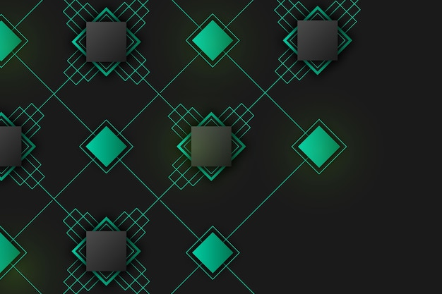 Gradient geometric shapes on dark wallpaper concept