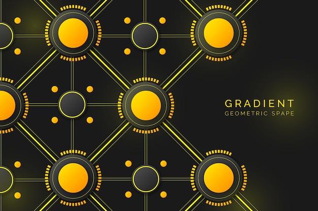 Gradient geometric shapes on dark wallpaper design