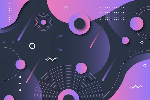 Gradient geometric shapes on dark wallpaper theme