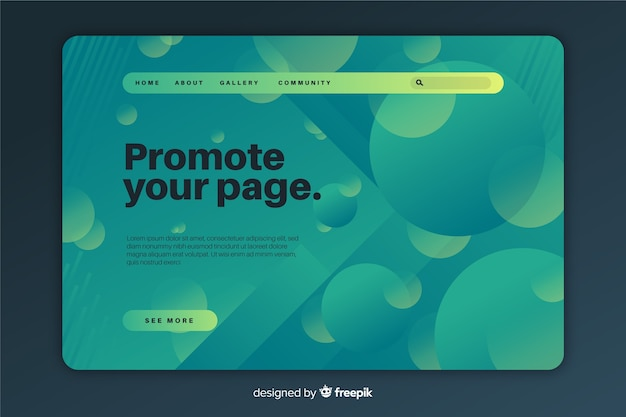 Gradient geometric shapes landing page template