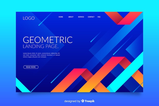 Gradient geometric shapes landing page
