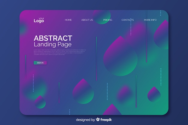 Gradient geometric shapes landing page