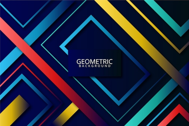 カラフルな背景にグラデーションの幾何学的図形
