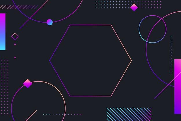 暗い背景にグラデーションの幾何学的図形