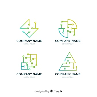 Gradient geometric technological logotype collection