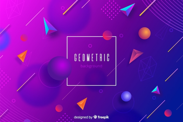 Gradient geometric tridimensional shapes background