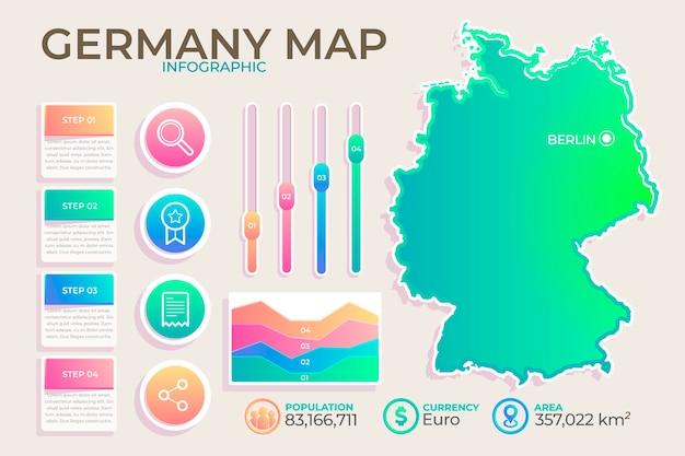 グラデーションドイツ地図インフォグラフィック