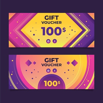 Gradient gift voucher horizontal banners template