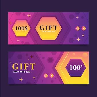 Gradient gift voucher horizontal banners