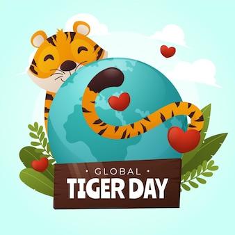 Градиент глобальный день тигра иллюстрация