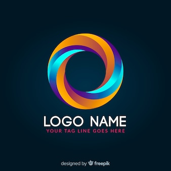 Gradient glowing colorful geometric logotype