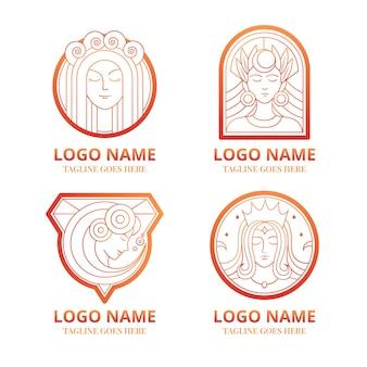Gradient goddess logo collection