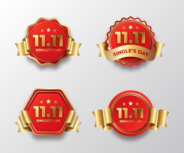 グラデーションの金色と赤の光棍節のラベルコレクション
