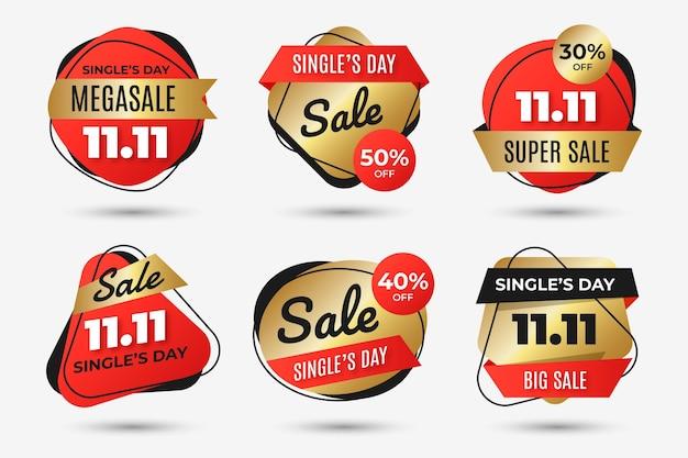 Коллекция градиентных золотых и красных этикеток для распродажи в день сингла