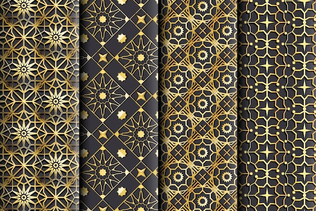グラデーションの黄金のアラビア語のパターン