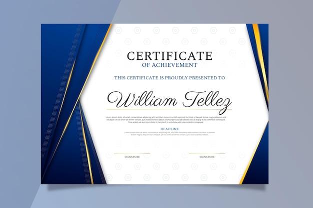 Gradient golden certificate template