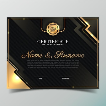 Шаблон градиентного золотого сертификата