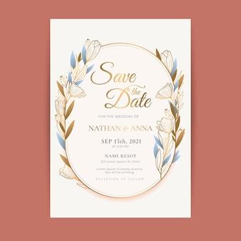 Шаблон градиентного золотого цветочного свадебного приглашения