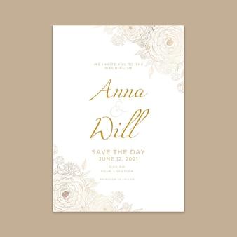 Gradient golden floral wedding invitation template