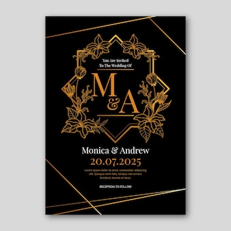 Gradient golden floral wedding invitation template
