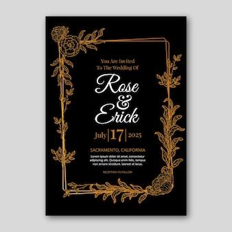그라데이션 황금 꽃 결혼식 초대장 서식 파일