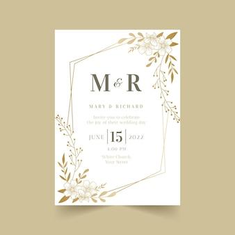 Modello di invito matrimonio floreale dorato sfumato