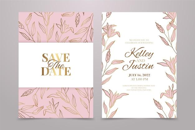 グラデーションの黄金の花の結婚式の招待状のテンプレート