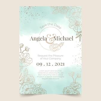 グラデーションの黄金の花の結婚式の招待状