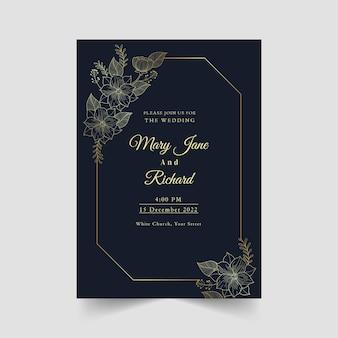 Gradient golden floral wedding invitation