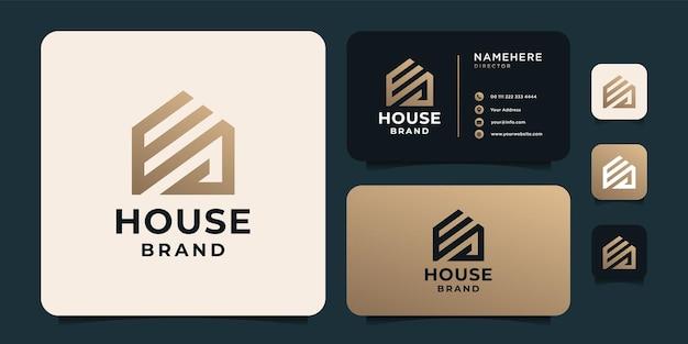 기업 회사에 대한 그라데이션 골든 하우스 로고