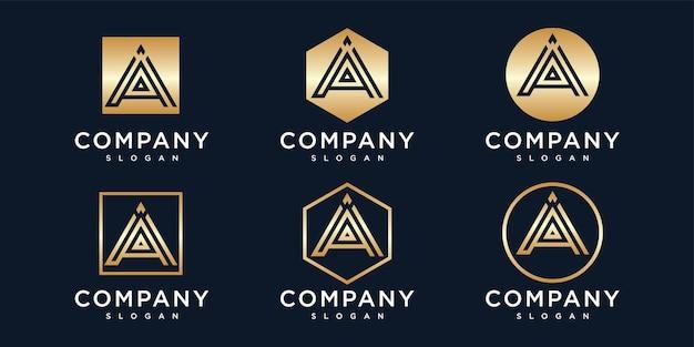 Gradient golden letter a logo collection