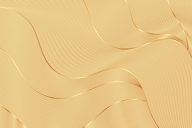 Gradient golden linear background with abstract beige waves
