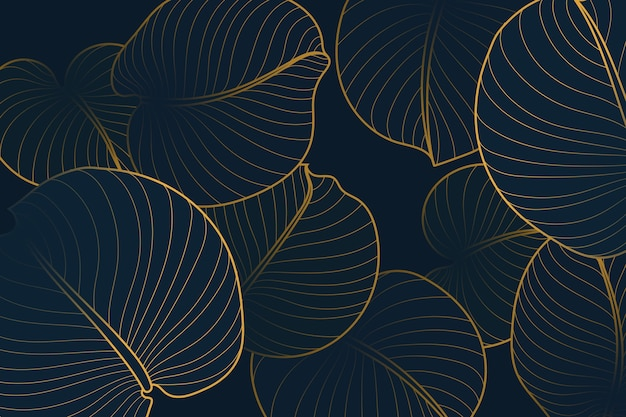Gradient golden linear background with august lily leaves