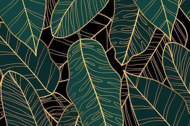 Sfondo lineare dorato sfumato con foglie di banano