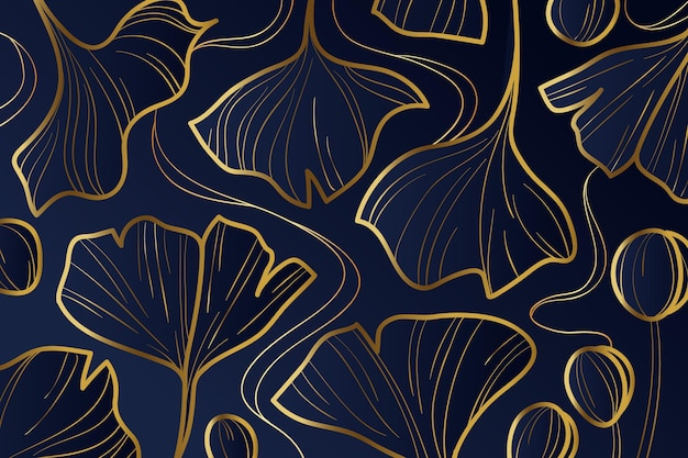Gradient golden linear background with ginkgo biloba leaves