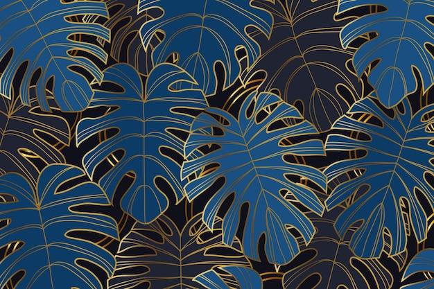 Градиент золотой линейный фон с листьями монстеры