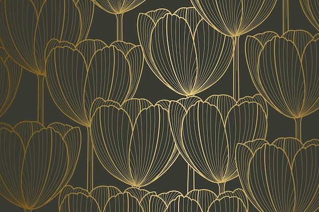 Sfondo lineare dorato sfumato con forme di tulipano